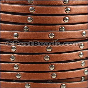 5mm flat STUDDED leather METALLIC ANT. COPPER - per 20m SPOOL