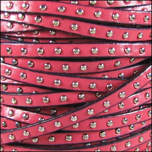5mm flat STUDDED leather PINK - per 1 meter