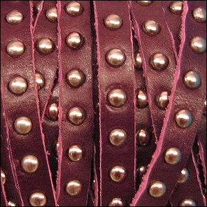10mm flat STUDDED leather BURGUNDY - per 1 meter