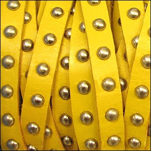 10mm flat STUDDED leather OCHRE - per 1 meter
