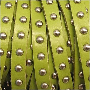 10mm flat STUDDED leather LIME GREEN - per 1 meter