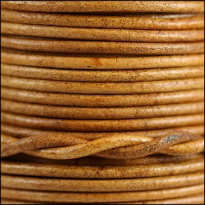 2mm round Indian leather - natural med. brown - per 25m SPOOL