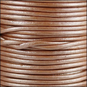 1mm round Indian leather - musk METALLIC - per 25m SPOOL