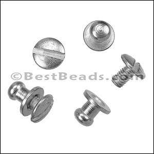 Flat leather Post SCREW set ANT SILVER - per 10 sets