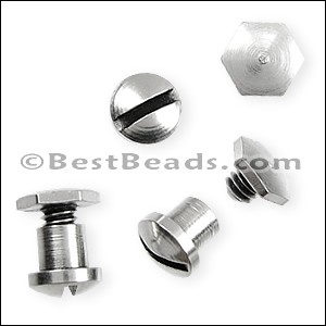 Flat leather HEXAGONAL SCREW set ANT SILVER - per 20 sets