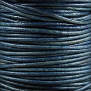 1.5mm round Indian leather - blue natural dye - per 25m SPOOL