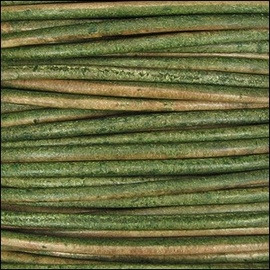 1.5mm round Indian leather - dark green natural dye - per 25m SPOOL