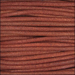 2mm round Indian leather - t.red natural dye - per 25m SPOOL