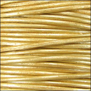 2mm round Indian leather - gold natural dye - per 25m SPOOL