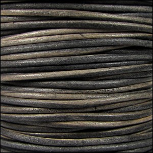 2mm round Indian leather - grey brown natural dye - per 25m SPOOL