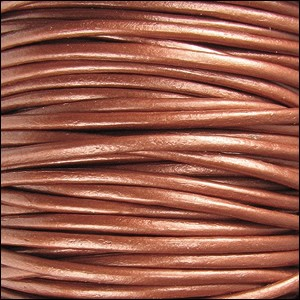 2mm round Indian leather - METALLIC copper - per 25m SPOOL