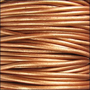 2mm round Indian leather - METALLIC bronze - per 25m SPOOL