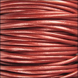 2mm round Indian leather - METALLIC russet - per 25m SPOOL