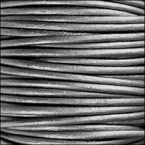 2mm round Indian leather - METALLIC grey - per 25m SPOOL