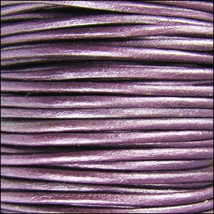 1.5mm round Indian leather - METALLIC berry - per 25m SPOOL