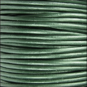 2mm round Indian leather - METALLIC ocean green - per 25m SPOOL
