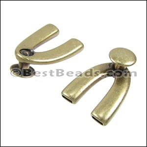 5mm flat WISHBONE DISC clasp ANT BRASS - per 10 pieces