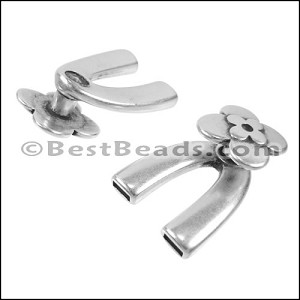 5mm flat WISHBONE FLOWER clasp ANT SILVER - per 10 pieces