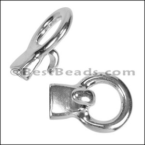 5mm flat CIRCLE HOOK clasp ANT SILVER - per 10 pieces