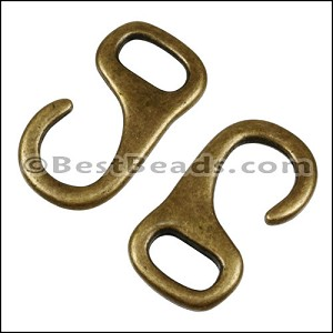 Multi J HOOK connector clasp ANT BRASS - per 10 pieces
