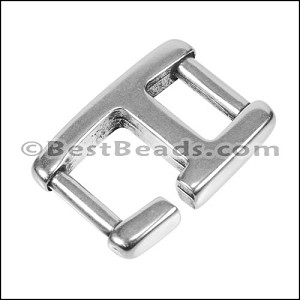 10mm flat BAR HOOK connector clasp ANT SILVER - per 10 pieces