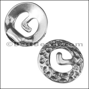 2mm round ROUND RUSTIC connector clasp ANT SILVER - per 10 pieces