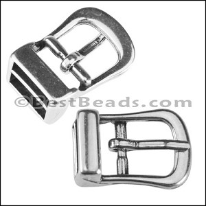 10mm flat BUCKLE connector clasp ANT SILVER - per 10 pieces