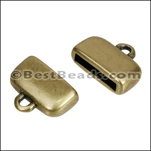 10mm flat ROUNDED loop end ANT BRASS - per 10 pieces