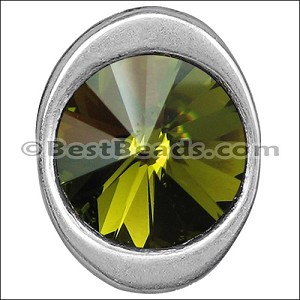 multi round OLIVINE SW CRYSTAL BUTTON end ANT SILVER - per 5 pieces