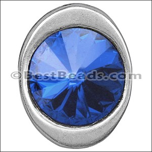 multi round SAPPHIRE SW CRYSTAL BUTTON end ANT SILVER - per 5 pieces
