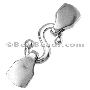 10mm flat S-HOOK clasp ANT SILVER - per 5 clasps