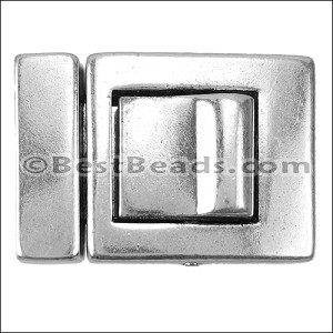 20mm flat PUSH-IN clasp ANT SILVER per bag of 5 pieces