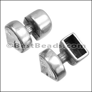 4.5mm round CRYSTAL KNOB end ANT SILVER - per 5 pieces