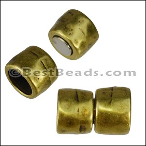 10mm round HAMMERED magnetic clasp ANT BRASS- per 10 pieces