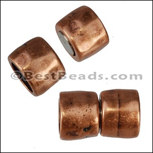 10mm round HAMMERED magnetic clasp ANT COPPER- per 10 pieces
