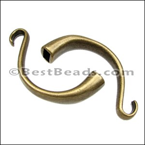 5mm round CUFF HOOK clasp ANT BRASS - per 5 pieces