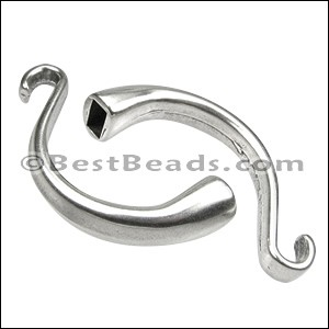 5mm round CUFF HOOK clasp ANT SILVER - per 5 pieces