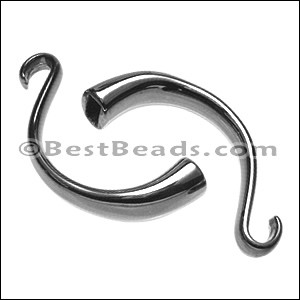 5mm round CUFF HOOK clasp SHINY BLACK - per 5 pieces