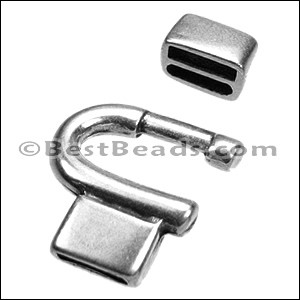 10mm flat HORSESHOE clasp ANT SILVER - per 10 clasps