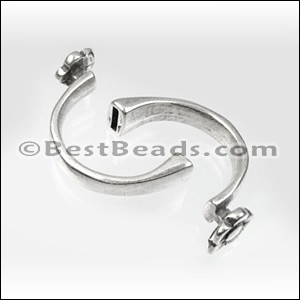 5mm flat CUFF FLOWER clasp ANT SILVER - per 5 pieces