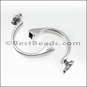 5mm round CUFF FLOWER clasp ANT SILVER - per 5 pieces