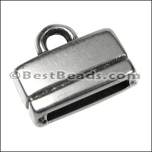 10mm flat RECTANGLE LOOP end ANT SILVER - per 10 pieces