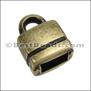 5mm flat SQUARE LOOP end ANT BRASS - per 10 pieces