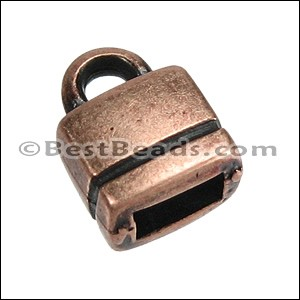 5mm flat SQUARE LOOP end ANT COPPER - per 10 pieces