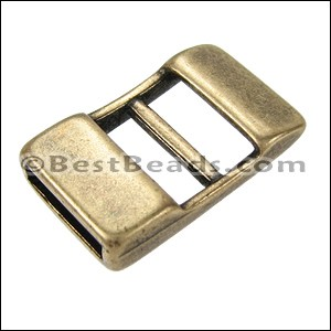 10mm flat ADJUSTABLE clasp ANT BRASS - per 10 pieces