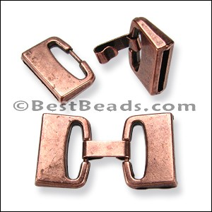 20mm flat FOLD OVER clasp ANT COPPER per 10 clasps