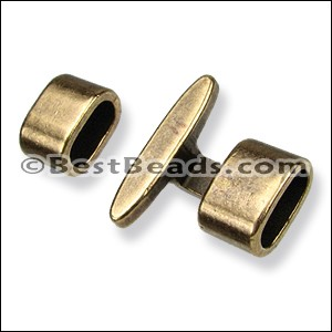 5mm round T BAR clasp ANT BRASS per 10 clasps