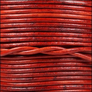 2mm round Indian leather - natural red - per 25m SPOOL