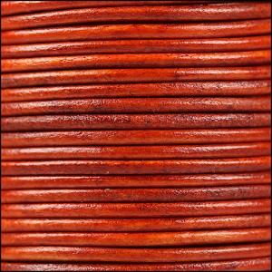 1mm round Indian leather - natural orange - per 25m SPOOL