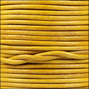 1mm round Indian leather - natural mustard - per 25m SPOOL